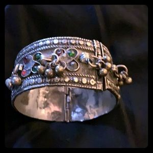 Antique Hand made in India cuff jeweled bracelet